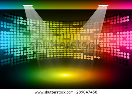 Stage Lighting blue yellow pink Background with Spot Light Effects, vector illustration. Abstract light lamps background for Technology computer graphic website internet business. screen, movie,cinema - stock vector