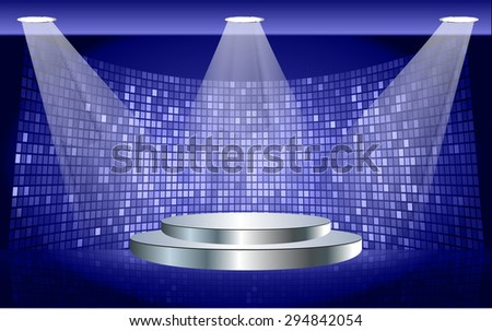 Stage Lighting dark blue Background with Spot Light Effects, vector illustration. Abstract light lamps background for Technology computer graphic website internet business. screen,movie,cinema - stock vector