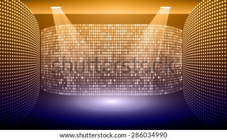 Stage Lighting dark blue orange Background with Spot Light Effects, vector illustration. Abstract light lamps background for Technology computer graphic website internet and business. - stock vector