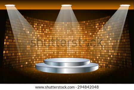 Stage Lighting orange Background with Spot Light Effects, vector illustration. Abstract light lamps background for Technology computer graphic website internet business. screen,movie,cinema - stock vector