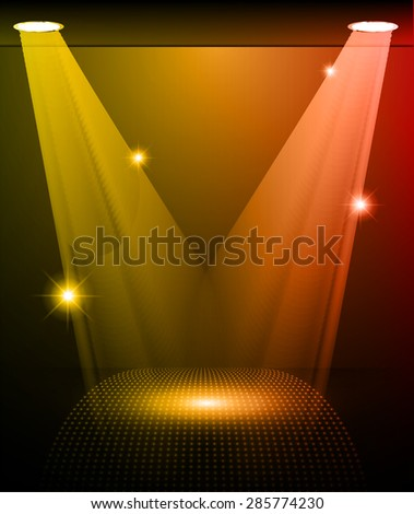 Stage Lighting orange red Background with Spot Light Effects, vector illustration. Abstract light lamps background for Technology computer graphic website internet and business.  - stock vector