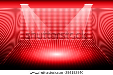 Stage Lighting red Background with Spot Light Effects, vector illustration. Abstract light lamps background for Technology computer graphic website internet business. screen, movie, cinema, scene - stock vector