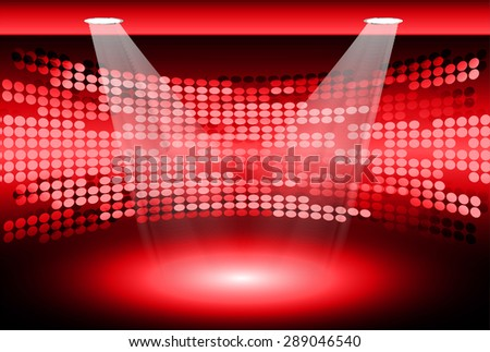 Stage Lighting red Background with Spot Light Effects, vector illustration. Abstract light lamps background for Technology computer graphic website internet business. screen, movie,cinema,scene - stock vector