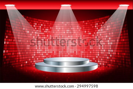 Stage Lighting red Background with Spot Light Effects, vector illustration. Abstract light lamps background for Technology computer graphic website internet business. screen,movie,cinema - stock vector