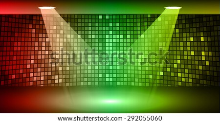 Stage Lighting red green yellow Background with Spot Light Effects, vector illustration. Abstract light lamps background for Technology computer graphic website internet business. screen, movie,cinema - stock vector