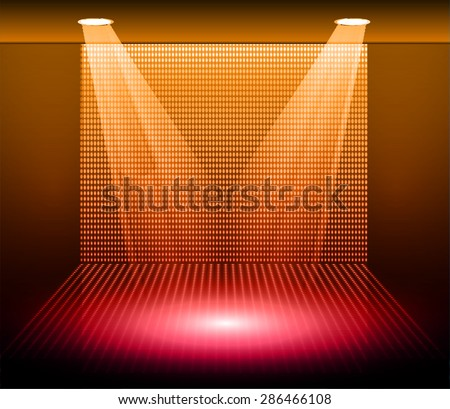 Stage Lighting red orange Background with Spot Light Effects, vector illustration. Abstract light lamps background for Technology computer graphic website internet business. screen, movie,cinema,scene - stock vector