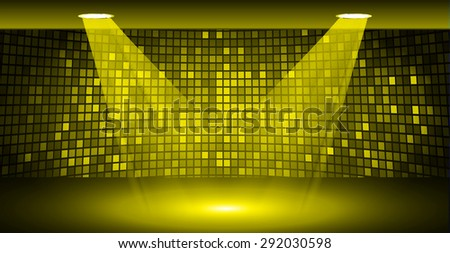 Stage Lighting yellow Background with Spot Light Effects, vector illustration. Abstract light lamps background for Technology computer graphic website internet business. screen, movie,cinema,scene - stock vector