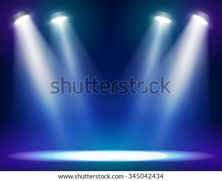 Stage lights background for web and mobile devices - stock vector