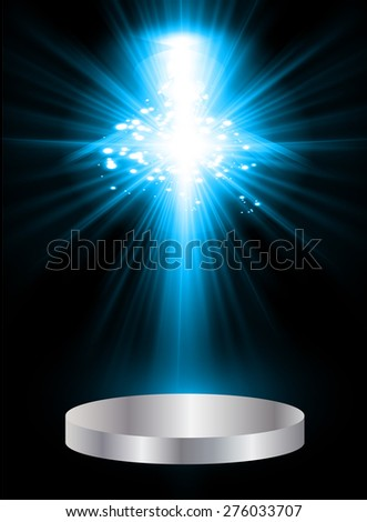 Stage lights. dark blue background. Vector illustration. Light Abstract Technology background computer graphic website internet and business.