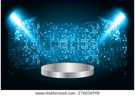 Stage lights. dark blue background. Vector illustration. Light Abstract Technology background computer graphic website internet and business. - stock vector