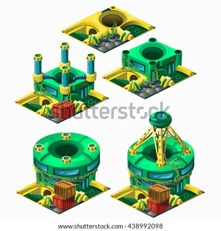Stage of construction underwater research station isolated on white background. Vector illustration.