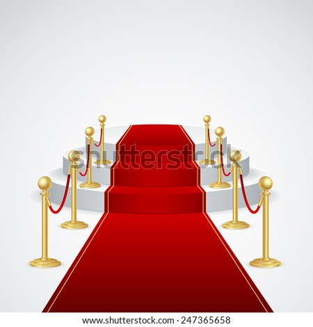 Stage podium with red carpet for award ceremony