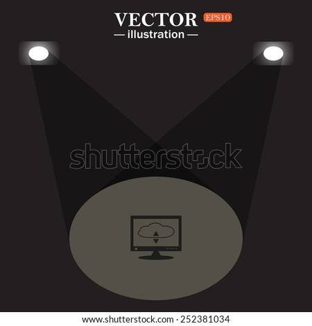 stage, projector on black background.  cloud storage on the computer, vector illustration, EPS 10 - stock vector