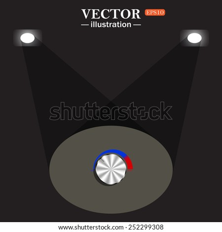 stage, projector on black background. metal volume control, red, blue, light, vector illustration, EPS 10 - stock vector