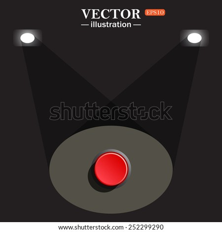 stage, projector on black background. Red button start, stop. Vector illustration, EPS 10 - stock vector