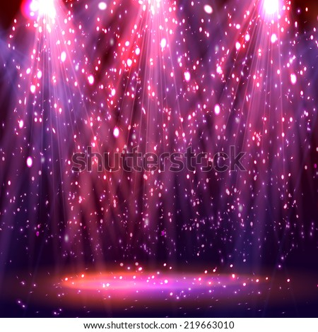 Stage spotlights. abstract festive background with bokeh defocused lights. Vector - stock vector