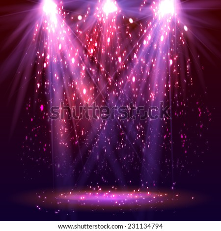 Stage spotlights and sparkles. Vector illustration - stock vector