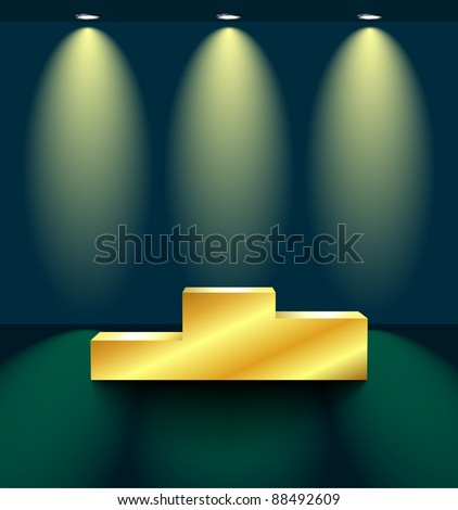 Stage with a golden pedestal - stock vector