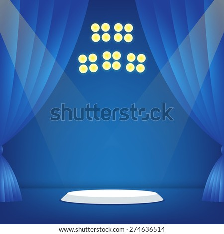 Stage with blue background. Vector illustration - stock vector