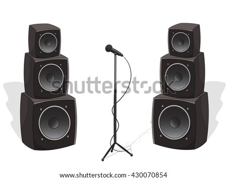 Stage with cartoon audio speakers and microphone, vector illustration isolated on white - stock vector