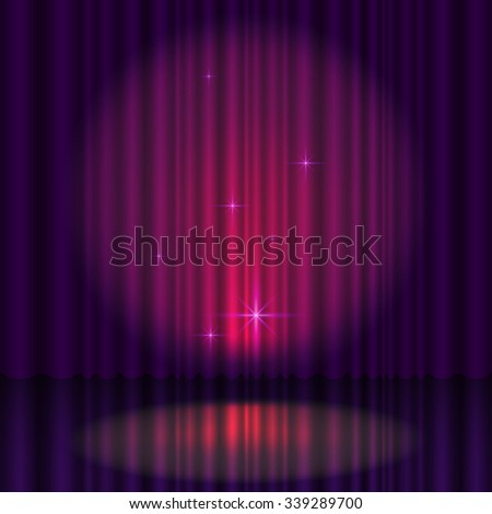 Stage with curtain - stock vector