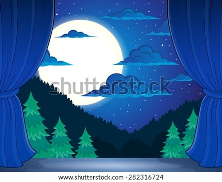 Stage with night landscape - eps10 vector illustration.
