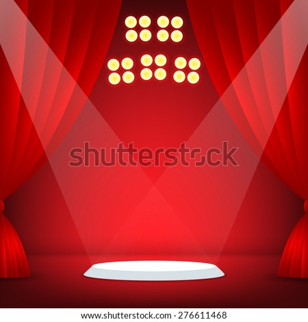 Stage with red background. Vector illustration - stock vector