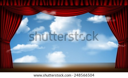 stage with red curtain and cloudscape background - stock vector