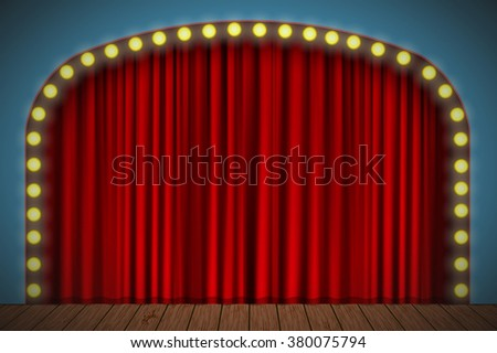 Stage with red curtain, lights and wooden floor. Vector for your design - stock vector