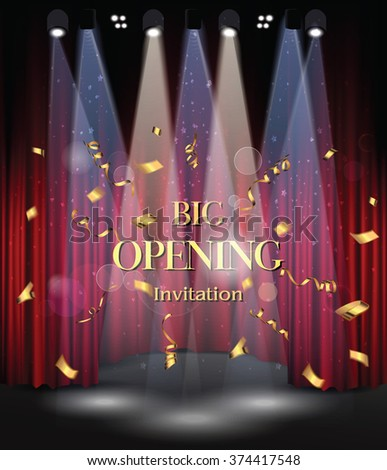 Stage with red curtains and light equipment. Big opening - stock vector