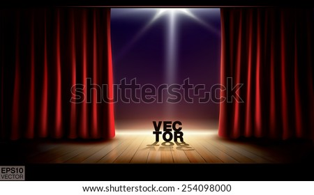 Stage with red curtains and spotlight. Vector background - stock vector