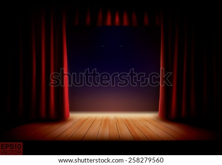 Stage with red curtains and wooden podium. Vector background - stock vector