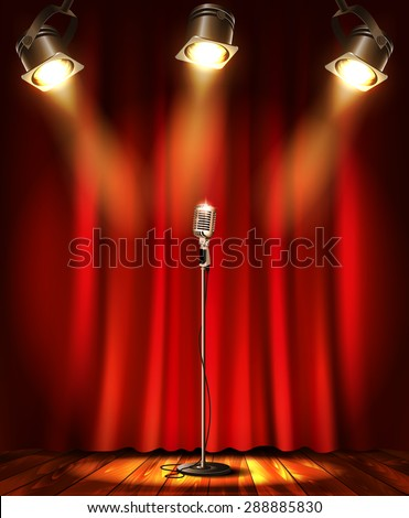 Stage with red curtians, microphone and spotlight. - stock vector