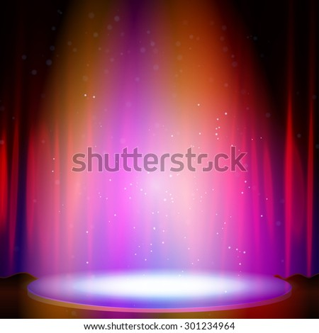 Stage with spotlight and curtain. Vector illustration.  - stock vector
