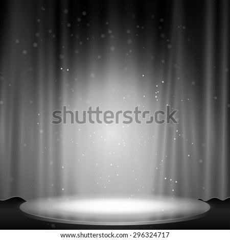 Stage with spotlight black and white color, Vector illustration.