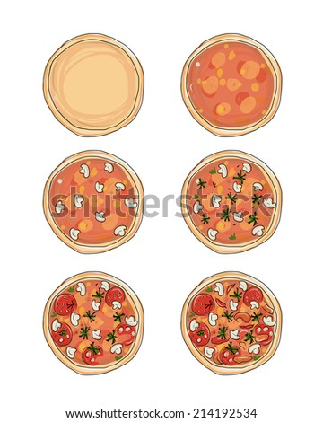 Stages of cooking pizza, sketch for your design - stock vector