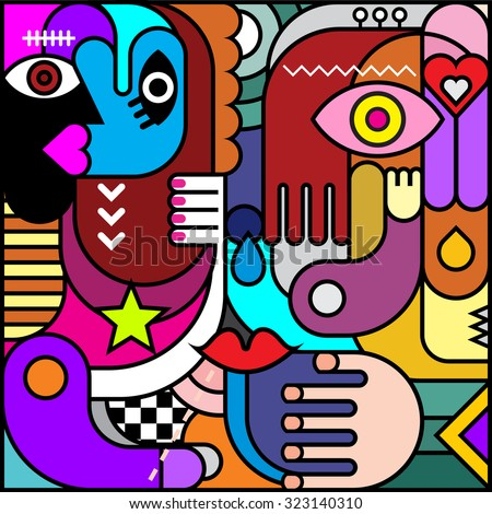 Stained glass. Abstract art vector illustration. Decorative collage of various colorful objects and shapes. - stock vector