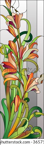 Stained glass floral pattern with red flowers - stock vector