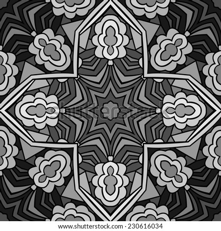 Stained glass monochrome seamless pattern with abstract ethnic forms and stars. Symmetric tribal ornament in shadows of grey and black color. Endless background. Vector file is EPS8. - stock vector