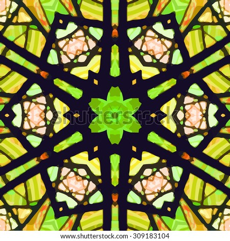 Stained glass pattern. Seamless symmetrical background template.  Multicolored vivid design element. Bright and beautiful kaleidoscopic texture for design uses - stock vector