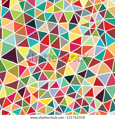 stained-glass seamless pattern with triangles - stock vector