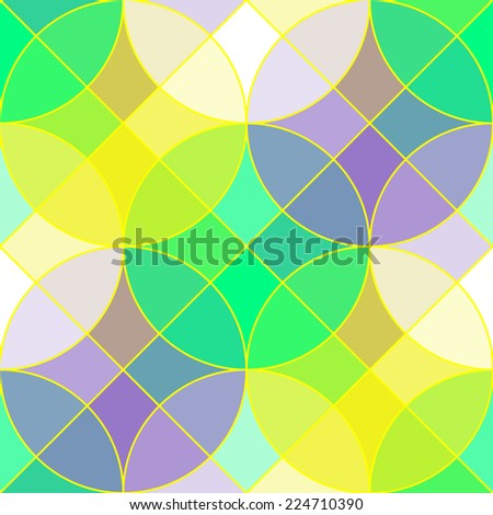 Stained glass tiles geometric seamless pattern. Abstract seamless pattern with multicolored semi transparent tiles in the shape of circles and squares looks like the stained glass, vector EPS8. - stock vector