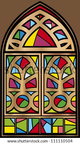 Stained glass window - stock vector
