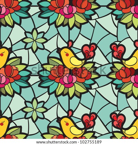Stainedglass Window Birds Flowers Stock Vector 102755189