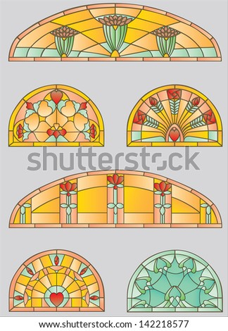 Stained-glass windows with flowers and hearts