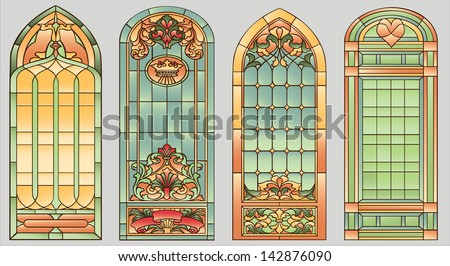 Stained-glass windows with flowers, hearts and crown