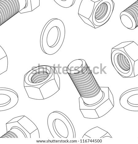 Stainless steel bolt and nut seamless wallpaper, vector illustration - stock vector