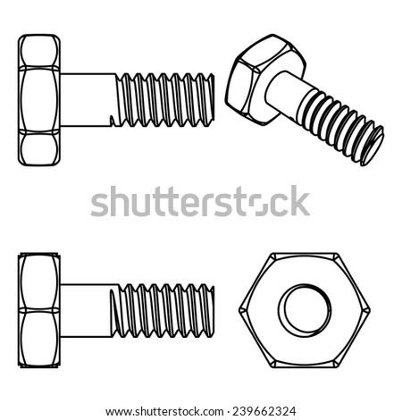 Stainless steel bolt and nut. Vector illustration. Different projections - stock vector