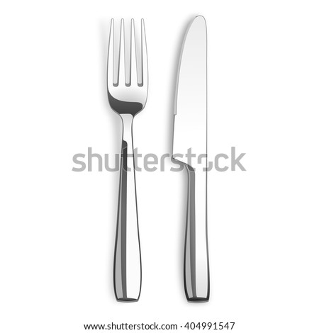 Stainless steel knife and fork on the white background. Eps 10 vector file.