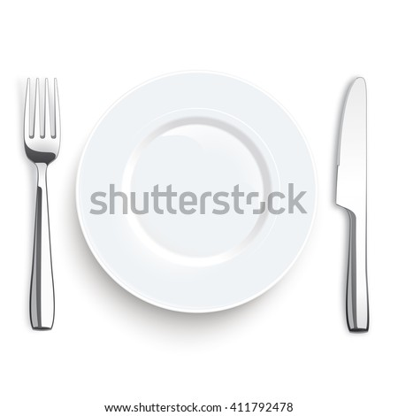 Stainless steel knife and fork with plate on the white background. Eps 10 vector file.